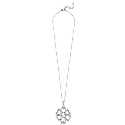Wholesale Sterling Silver 925 Rhodium Plated Personalized 4 Hearts Mounting 2 Open Heart Flower Necklace - BGP00784
