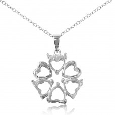 Sterling Silver Rhodium Plated Personalized 4 Hearts Mounting 2 Open Heart Flower Necklace - BGP00785