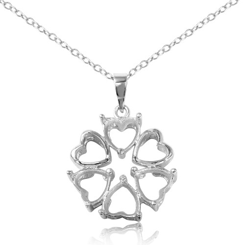 Wholesale Sterling Silver 925 Rhodium Plated Flower Heart 3 Mounting Necklace - BGP00786