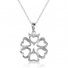 Sterling Silver Rhodium Plated Flower Heart Petals With 2 Stone Mountings - BGP00787