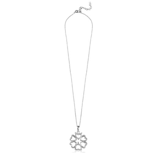 Wholesale Sterling Silver 925 Rhodium Plated Flower Heart Petals with 2 Stone Mountings - BGP00787
