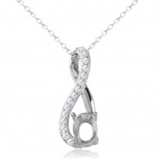 Sterling Silver Rhodium Plated Infinity With CZ And Mounting Necklace - BGP00909