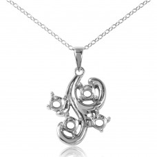 Wholesale Sterling Silver 925 Rhodium Plated Wavy Mounting Necklace - BGP00910