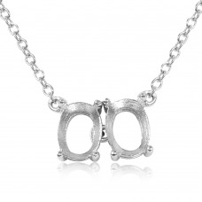 Sterling Silver Rhodium Plated Personalized 2 Oval Mounting Necklace - BGP01009