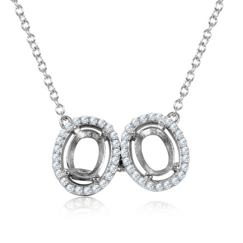 Wholesale Sterling Silver 925 Rhodium Plated Double Halo Mounting Necklace - BGP01010