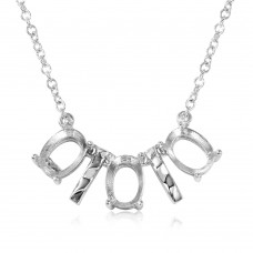 Wholesale Sterling Silver 925 Rhodium Plated 3 Oval Mountings with 2 Bars Necklace - BGP01011