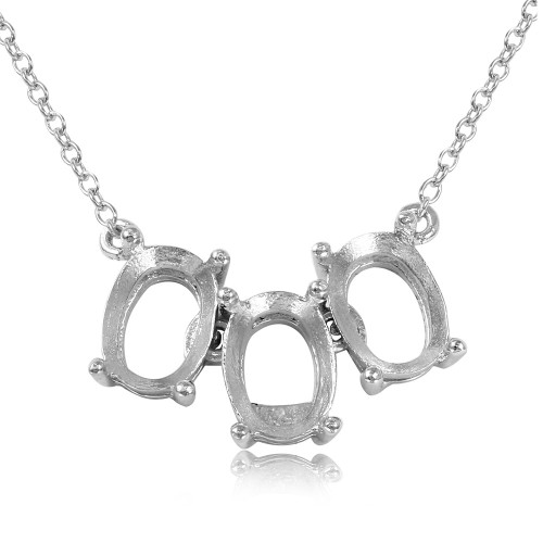 Wholesale Sterling Silver 925 Rhodium Plated 3 Oval Mounting Necklace - BGP01012