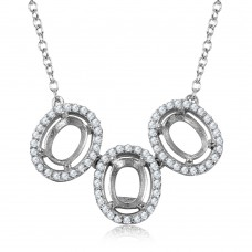Wholesale Sterling Silver 925 Rhodium Plated 3 Oval CZ Halo Mounting Necklace - BGP01013