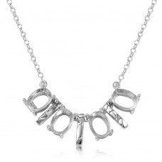 Wholesale Sterling Silver 925 Rhodium Plated 4 Oval Mounting with Bars Necklace - BGP01014
