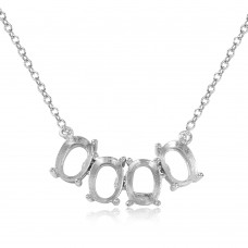 Wholesale Sterling Silver 925 Rhodium Plated 4 Oval Mounting Necklace - BGP01015
