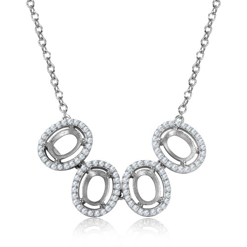 Wholesale Sterling Silver 925 Rhodium Plated 4 Oval CZ Halo Mounting Necklace - BGP01016