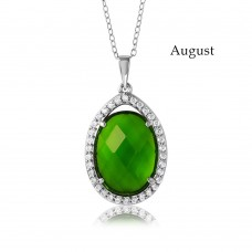 Wholesale Sterling Silver 925 Rhodium Plated Teardrop Halo Birthstone Necklace August - BGP01034AUG