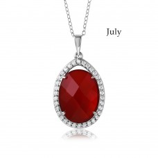 Wholesale Sterling Silver 925 Rhodium Plated Teardrop Halo Birthstone Necklace July - BGP01034JUL