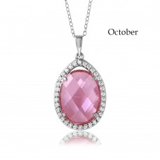 Wholesale Sterling Silver 925 Rhodium Plated Teardrop Halo Birthstone Necklace October - BGP01034OCT
