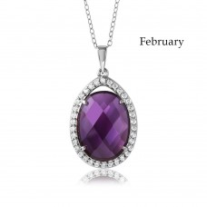 Wholesale Sterling Silver 925 Rhodium Plated Teardrop Halo Birthstone Necklace February - BGP01034FEB