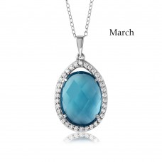 Wholesale Sterling Silver 925 Rhodium Plated Teardrop Halo Birthstone Necklace March - BGP01034MAR