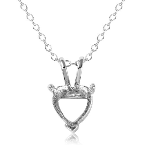 Wholesale Sterling Silver 925 Rhodium Plated Mounting Heart Necklace - BGP01059