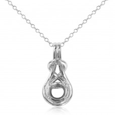 Sterling Silver Rhodium Plated Braided Mounting Pendant With Chain - BGP01060