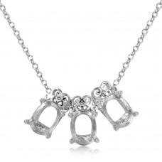 Wholesale Sterling Silver 925 Rhodium Plated 3 Oval Designed Mounting Necklace - BGP01061