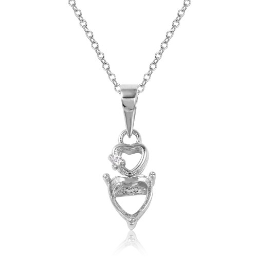 Wholesale Sterling Silver 925 Rhodium Plated Double Heart Mounting Necklace - BGP01063