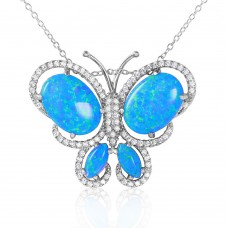 Wholesale Sterling Silver 925 Rhodium Plated Butterfly with CZ and Synthetic Blue Opal Necklace - BGP01067