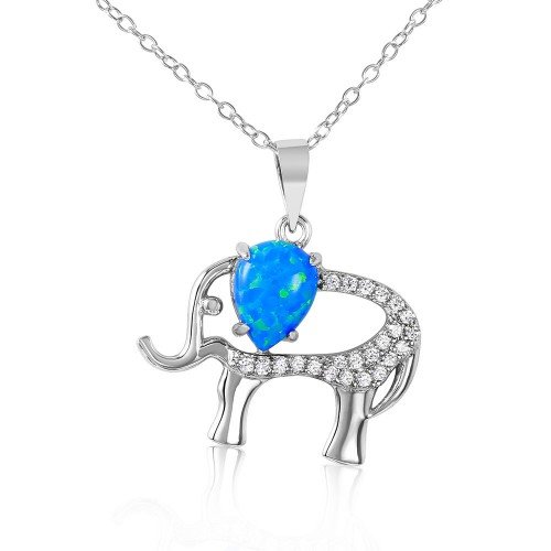 Wholesale Sterling Silver 925 Rhodium Plated Elephant with CZ and Synthetic Blue Opal Necklace - BGP01068