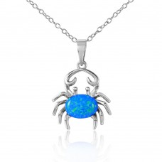 Sterling Silver Rhodium Plated Crab with CZ and Blue Synthetic Opal Center Stone - BGP01070BLU