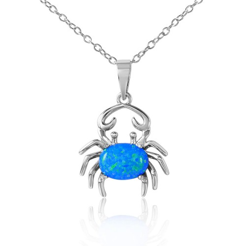 Wholesale Sterling Silver 925 Rhodium Plated Crab with Synthetic Blue Opal Necklace - BGP01069BLU