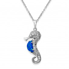 Sterling Silver Rhodium Plated Sea Horse With CZ And Synthetic Blue Opal Necklace - BGP01071BLU