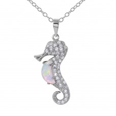 Sterling Silver Rhodium Plated Sea Horse With CZ And Synthetic Opal Necklace - BGP01071WHT