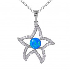 Wholesale Sterling Silver 925 Rhodium Plated CZ Open Starfish with Synthetic Blue Opal Necklace - BGP01073BLU