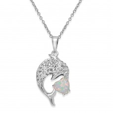 Sterling Silver Rhodium Plated CZ Dolphin Necklace with Synthetic Opal - BGP01074WHT