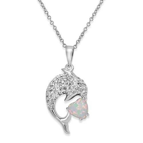 Wholesale Sterling Silver 925 Rhodium Plated CZ Dolphin Necklace with Synthetic Opal - BGP01074WHT