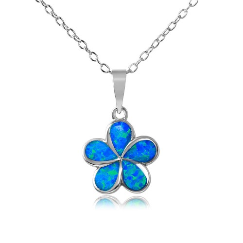 Wholesale Sterling Silver 925 Rhodium Plated Blue Opal Stone Hibiscus Flower Necklace - BGP01075