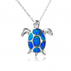 Sterling Silver Rhodium Plated Turtle Necklace With Synthetic Blue Opal - BGP01076