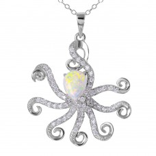 Sterling Silver Rhodium Plated Octopus With CZ And Synthetic Opal - BGP01077