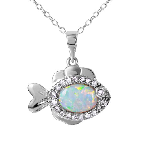 Wholesale Sterling Silver 925 Rhodium Plated Fish with CZ and Synthetic Opal Necklace - BGP01078