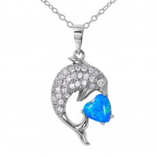 Wholesale Sterling Silver 925 Rhodium Plated CZ Dolphin Necklace with Synthetic Blue Opal - BGP01074BLU