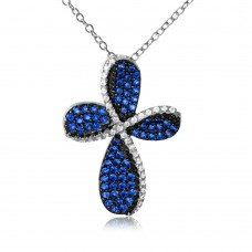 Wholesale Sterling Silver 925 Black Rhodium and Rhodium Plated Cross with Blue and Clear CZ - BGP01080