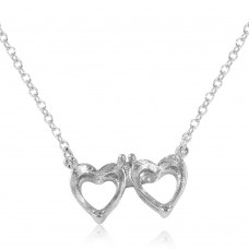 Wholesale Sterling Silver 925 Rhodium Plated Double Heart Mounting Necklace - BGP01082
