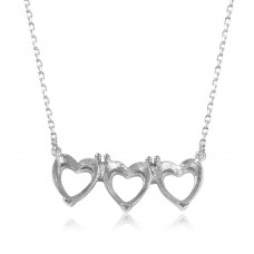 Wholesale Sterling Silver 925 Rhodium Plated 3 Hearts Mounting Necklace - BGP01083