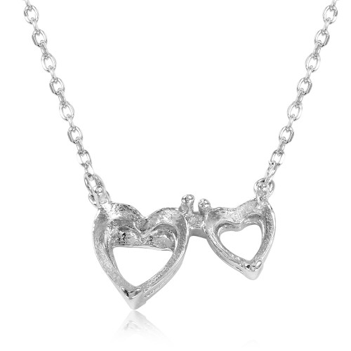 Wholesale Sterling Silver 925 Rhodium Plated 2 Hearts Mounting Necklace - BGP01084