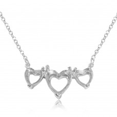 Wholesale Sterling Silver 925 Rhodium Plated 3 Hearts Mounting Necklace - BGP01085