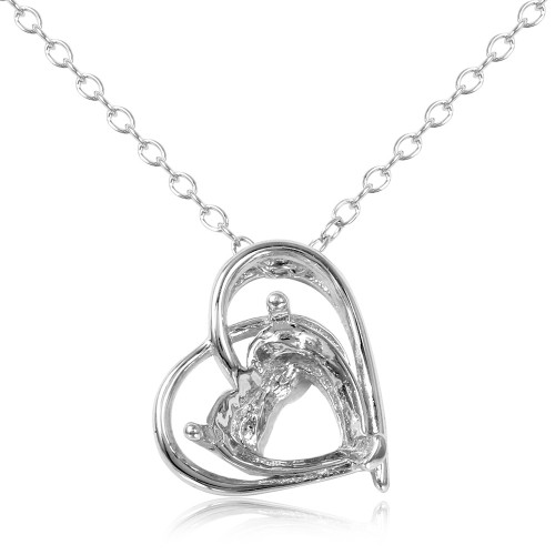 Wholesale Sterling Silver 925 Rhodium Plated Open Heart Mounting Pendant with Chain - BGP01087