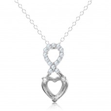 Sterling Silver Rhodium Plated Personalized Infinity Drop Heart Mounting Necklace With CZ - BGP01088
