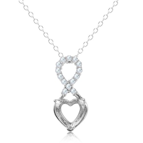 Wholesale Sterling Silver 925 Rhodium Plated Personalized Infinity Drop Heart Mounting Necklace with CZ - BGP01088