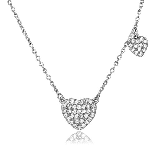 Wholesale Sterling Silver 925 Rhodium Plated CZ Covered Heart Necklace - BGP01089