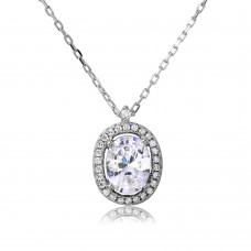 Sterling Silver Rhodium Plated Oval Halo CZ Necklace - BGP01092