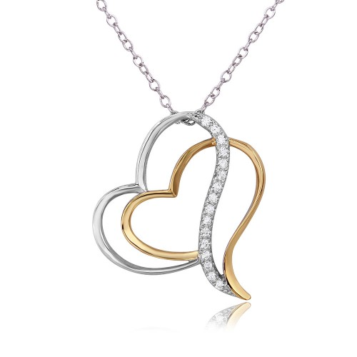Wholesale Sterling Silver 925 Rhodium Plated 2 Toned Double Open Heart Necklace - BGP01096