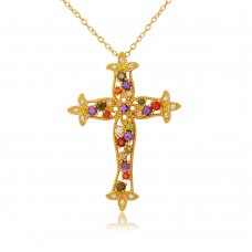 Wholesale Sterling Silver 925 Gold Plated Multi Color CZ Cross Necklace - BGP01097